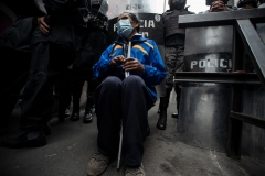 La Paz, Bolivia. 29th Sep 2020. Visually impaired protesters and their relatives demanded access to the main square and a meeting with government representatives. They asked for financial support and the inclusion into the labour market. Radoslaw Czajkowski
