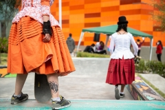 """La Paz, Bolivia. 30th Sep 2020. Female skaters dressed in traditional """"cholita"""" clothes participated in an event at one of the cable car stations."""