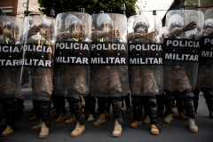 La Paz, Bolivia. 17th Oct 2020. Several hundred Police officers and soldiers participated in an event one day before the planned election. Credit: Radoslaw Czajkowski