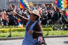 La Paz, Bolivia. 21st Nov 2019. A protester confronts the Police/ military blocking access to the main square. A march of ten of thousands people from El Alto/ Senkata tried to carry coffins containing the remains of some of the victims killed on November 19th to the main square of La Paz. Radoslaw Czajkowski/ Alamy Live News