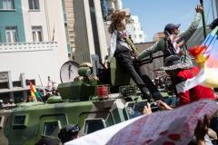 La Paz, Bolivia. 21st Nov 2019. Protesters climbed an APC guarding the access to the main square of La Paz and attached a doll representing Bolivian interim president Jeanine Áñez to its machine gun. Radoslaw Czajkowski/ Alamy Live News