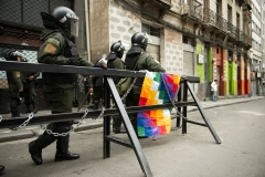 La Paz, Bolivia. 13th Nov 2019. Police officers guard the access to the main square of La Paz, Plaza Murillo. During the mutiny against the government of Evo Morales officers were seen to burn the Wiphala, a flag related to the Andean People and introduced as the second official flag of Bolivia under Evo Morales. Afterwards the Police officially apologized in an intent to calm down the indiginous population. Radoslaw Czajkowski/ Alamy Live News