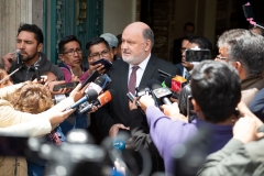 La Paz, Bolivia. 19th Nov 2019: The head of the OAS delegation, Rodolfo Piza, answers questions after a meeting with Bolivian interim president Jeanine Áñez. Radoslaw Czajkowski/ Alamy Live News