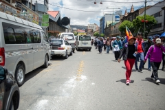 La Paz, Bolivia. 19th Nov 2019. Bolivian country teachers opposing the interim goverment marched towards the center of La Paz. Meanwhile thousands of car owners formed long lines all over La Paz, after it was announced that a combined Police/ Army force would escort trucks with gasoline to La Paz. Supporters of Evo Morales have been blocking the roads to La Paz for several days, leading to a shortage of gasoline and many fresh products like meat, vegetables, fruits and eggs. At least nine dead protesters and 30 injured were reported after heavy clashes between the combined force and the protesters that day. Radoslaw Czajkowski/ Alamy Live News