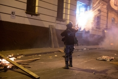 La Paz, Bolivia. 7th Nov 2019. The Police defended together with government supporters the access to the main square of La Paz, Plaza Murillo. Opposition supporters used fireworks and dynamite, but had to withdraw after the heavy use of tear gas by the Bolivian riot Police (UTOP). Radoslaw Czajkowski/ Alamy Live News