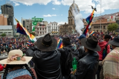 La Paz, Bolivia. 18th Nov 2019. Groups composed mostly of inidiginous people protested in the center of La Paz against interim president Jeanine Áñez. On that day the protests remained peaceful. Radoslaw Czajkowski/ Alamy Live News