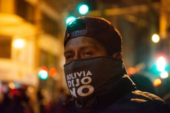 """La Paz, Bolivia. 6th Nov 2019. Masks with the phrase """"Bolivia dijo no"""" - Bolivia said No, appeared a few days afer the beginning of the conflict. The words refer to the referendum held on 21st Feb 2016 where almost 52% of the population rejected a new postulation by Evo Morales.  Radoslaw Czajkowski/ Alamy Live News"""